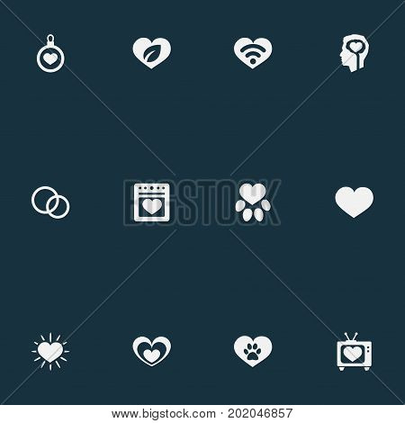Elements Decoration, Footprint, Love And Other Synonyms Valentine, Amour And Ecology.  Vector Illustration Set Of Simple Love Icons.