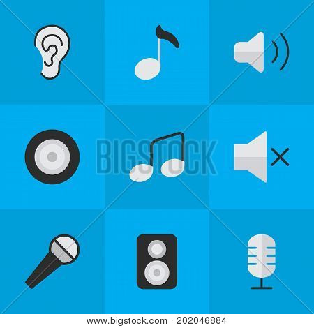 Elements Mike, Speaker, Music Sign And Other Synonyms Control, Sign And Loudspeaker.  Vector Illustration Set Of Simple Sound Icons.