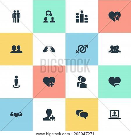 Elements Gossip, Partner, Favorite And Other Synonyms Singleness, Couple And Heart.  Vector Illustration Set Of Simple Buddies Icons.
