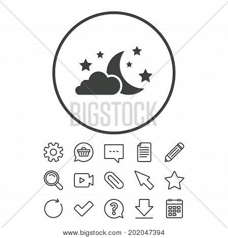 Moon, clouds and stars icon. Sleep dreams symbol. Night or bed time sign. Document, Chat and Paper clip line signs. Question, Pencil and Calendar line icons. Star, Download and Shopping cart. Vector