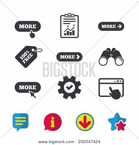 More with cursor pointer icon. Details with arrow or hand symbols. Click more sign. Browser window, Report and Service signs. Binoculars, Information and Download icons. Stars and Chat. Vector