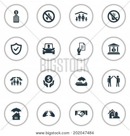 Elements Investment, Building, Driving Licence And Other Synonyms Saving, Forbidden And Partnership.  Vector Illustration Set Of Simple Insurance Icons.