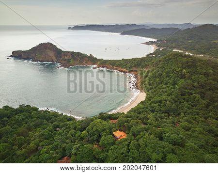 Aquawellness bay beach in Nicaragua aerial drone view