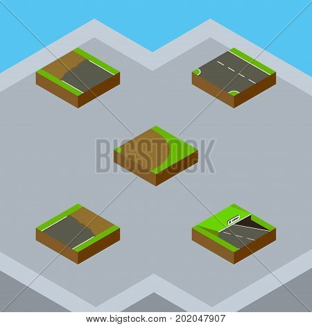 Isometric Road Set Of Unfinished, Downward, Incomplete And Other Vector Objects