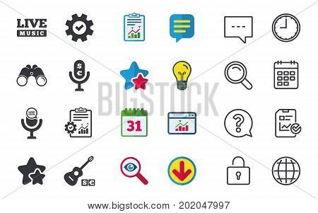 Musical elements icons. Microphone and Live music symbols. Paid music and acoustic guitar signs. Chat, Report and Calendar signs. Stars, Statistics and Download icons. Question, Clock and Globe