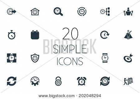 Elements Term, Padlock, Repetition And Other Synonyms Padlock, Meeting And Speedometer.  Vector Illustration Set Of Simple Administration Icons.