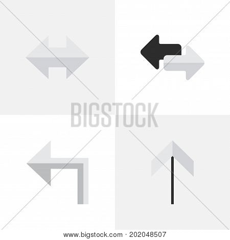 Elements Everyway, Orientation, Up And Other Synonyms Upward, Arrow And Left.  Vector Illustration Set Of Simple Indicator Icons.