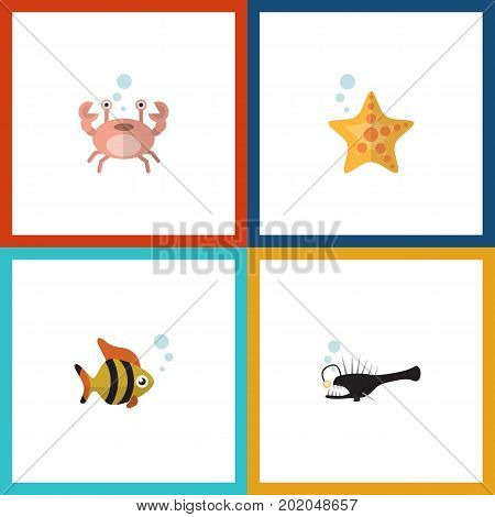 Flat Icon Marine Set Of Fish, Seafood, Cancer And Other Vector Objects