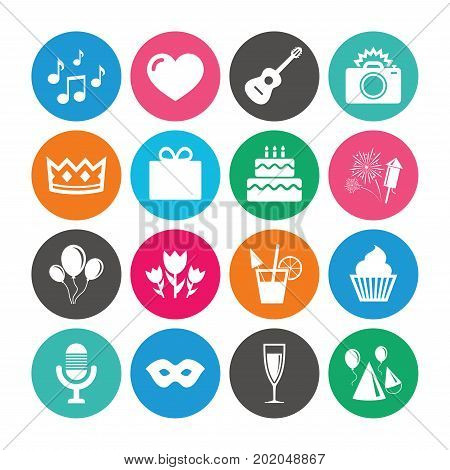 Set of Celebration, Birthday and Party icons. Fireworks, Air balloon and Champagne glass signs. Gift box, Cake and Photo camera symbols. Music and cocktails. Colored circle buttons with flat signs