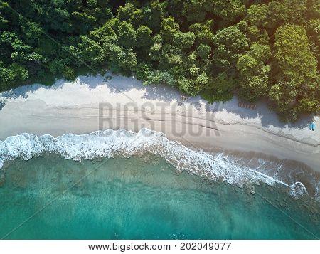 Clean beach in NIcaragua aquawellness bay aerial above view
