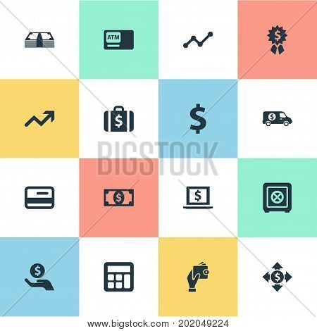 Elements Bank Truck, Strongbox, Money And Other Synonyms Briefcase, Mastercard And Safe.  Vector Illustration Set Of Simple Bill Icons.