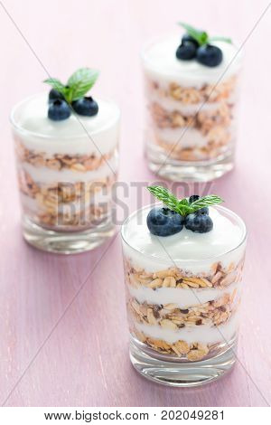 Three glass of healthy dessert with cereals yoghurt blueberry and mint on a pink background.