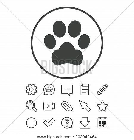 Dog paw sign icon. Pets symbol. Document, Chat and Paper clip line signs. Question, Pencil and Calendar line icons. Star, Download and Shopping cart. Vector
