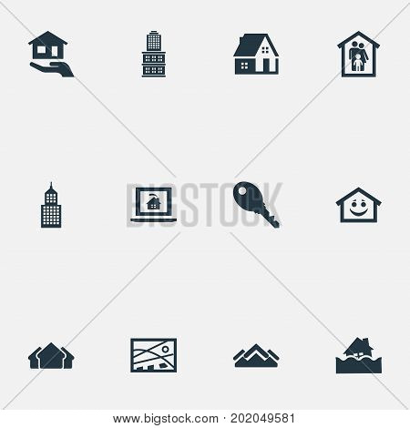 Elements Affordable Investment, Location, Residential And Other Synonyms Lock, House And Database.  Vector Illustration Set Of Simple Property Icons.