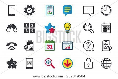 Phone icons. Smartphone with Qr code sign. Call center support symbol. Cellphone keyboard symbol. Chat, Report and Calendar signs. Stars, Statistics and Download icons. Question, Clock and Globe