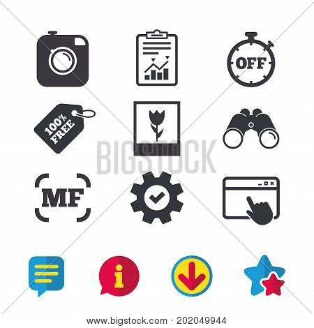 Hipster retro photo camera icon. Manual focus symbols. Stopwatch timer off sign. Macro symbol. Browser window, Report and Service signs. Binoculars, Information and Download icons. Stars and Chat