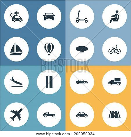 Elements Sky Travel, Road, Blimp And Other Synonyms Road, Aircraft And Traveler.  Vector Illustration Set Of Simple Transportation Icons.
