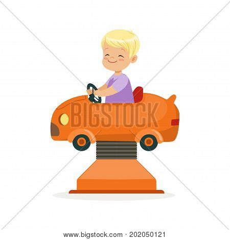Cute blonde little boy riding on an orange car, kid have a fun in amusement park cartoon vector Illustration on a white background