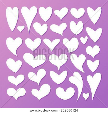 Hearts, vector set on a lilac background
