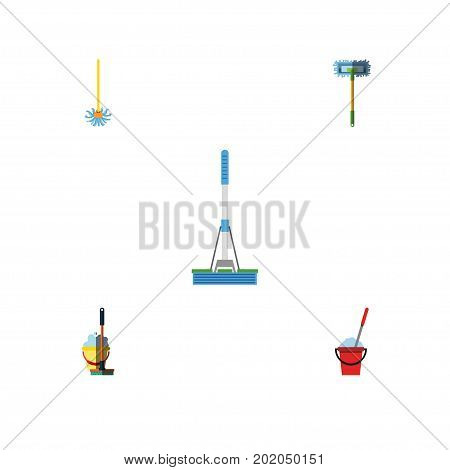 Flat Icon Mop Set Of Bucket, Broomstick, Cleaning And Other Vector Objects
