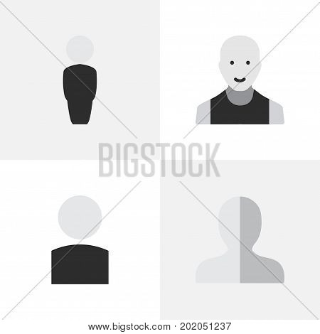Elements Avatar, Profile, Person And Other Synonyms Boy, Man And Person.  Vector Illustration Set Of Simple Profile Icons.