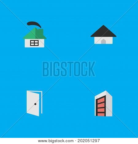 Elements Dwelling, Entry, Construction And Other Synonyms Home, Entry And Open.  Vector Illustration Set Of Simple Real Icons.