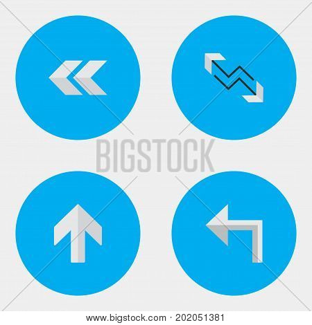 Elements Arrow, Orientation, Upwards And Other Synonyms Backward, Back And Boom.  Vector Illustration Set Of Simple Arrows Icons.