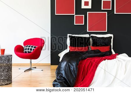 Elegant Bedroom With Red Coverlet