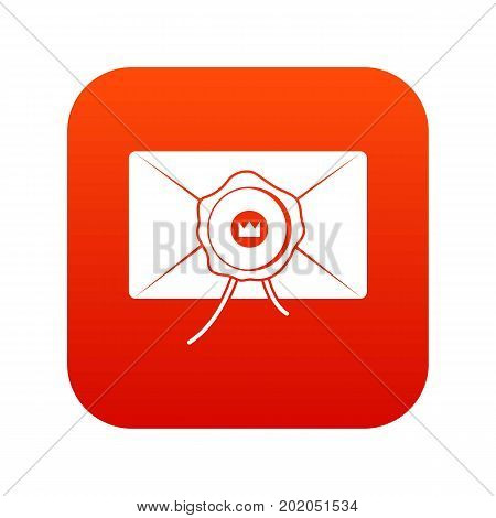Envelope with wax seal icon digital red for any design isolated on white vector illustration