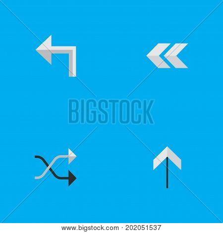 Elements Up, Orientation, Chaotically And Other Synonyms Upward, Up And Rearward.  Vector Illustration Set Of Simple Pointer Icons.