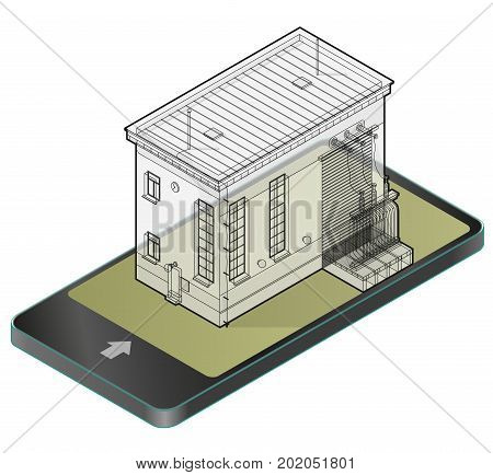 Electric transformer isometric building in mobile phone. Outlined 3d planning of vector high-voltage power station in communication technology paraphrase. Wire architecture plan of old plant.