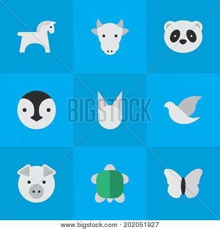 Elements Piggy, Bear, Kine And Other Synonyms Piggy, Animal And Butterfly.  Vector Illustration Set Of Simple Zoo Icons.