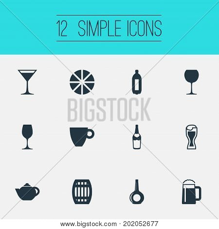 Elements Cosmopolitan, Lime, Fizzy And Other Synonyms Barrel, Teakettle And Citrus.  Vector Illustration Set Of Simple Water Icons.