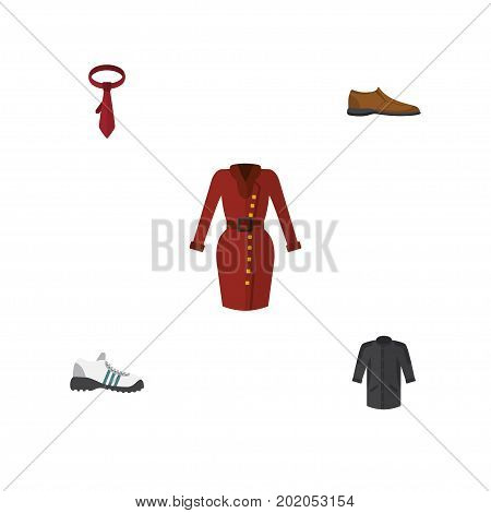 Flat Icon Clothes Set Of Male Footware, Clothes, Cravat And Other Vector Objects