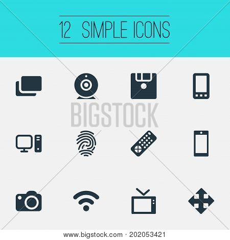 Elements Personal Computer, Fingerprint, Television And Other Synonyms Identification, Thumbprint And Camera.  Vector Illustration Set Of Simple Technology Icons.