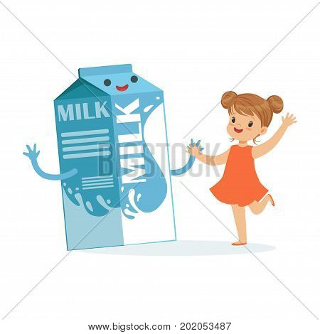 Cute happy little girl and funny milk carton box with smiling human face playing and having fun, healthy childrens food cartoon characters vector Illustration on a white background