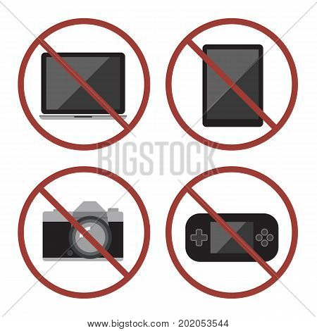 Items Not Allowed To Carry In Luggage For Boarding. Prohibition Icons Set. Flat Design