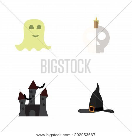 Flat Icon Celebrate Set Of Cranium, Spirit, Witch Cap And Other Vector Objects