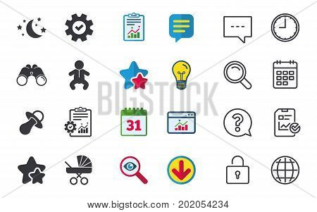 Moon and stars symbol. Baby infants icon. Buggy and dummy signs. Child pacifier and pram stroller. Chat, Report and Calendar signs. Stars, Statistics and Download icons. Question, Clock and Globe