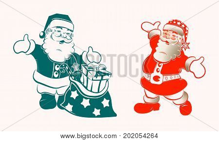 Christmas silhouette with Santa Claus with arms apart and a bag with gifts, set