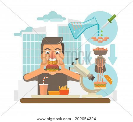 Cultured meat concept. Male eating hamburger produced from a cultured meat in a laboratory on a city scene background.