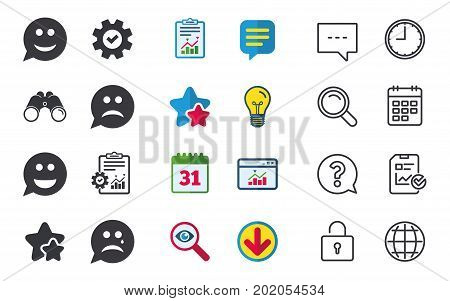Speech bubble smile face icons. Happy, sad, cry signs. Happy smiley chat symbol. Sadness depression and crying signs. Chat, Report and Calendar signs. Stars, Statistics and Download icons. Vector