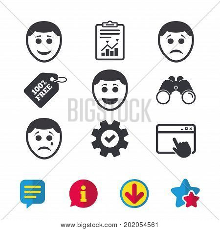 Human smile face icons. Happy, sad, cry signs. Happy smiley chat symbol. Sadness depression and crying signs. Browser window, Report and Service signs. Binoculars, Information and Download icons