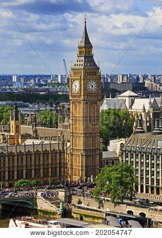 Birds Eye View of Big Ben (Elizabeth Tower) Cityscape. The Big BenBell is currently under restoration and will not chime for 4 years. It is a famous Landmark of London England 2106