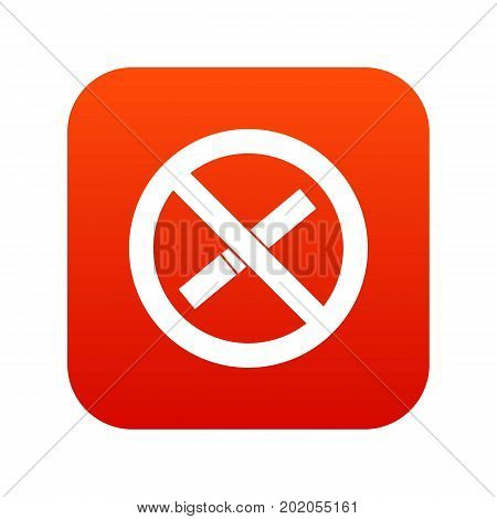 Sign prohibiting smoking icon digital red for any design isolated on white vector illustration