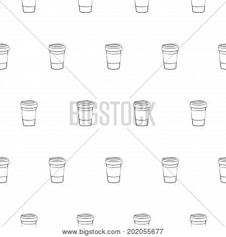 Coffee cup seamless pattern isolated on white background. Coffee to go cups and coffee beans pattern.