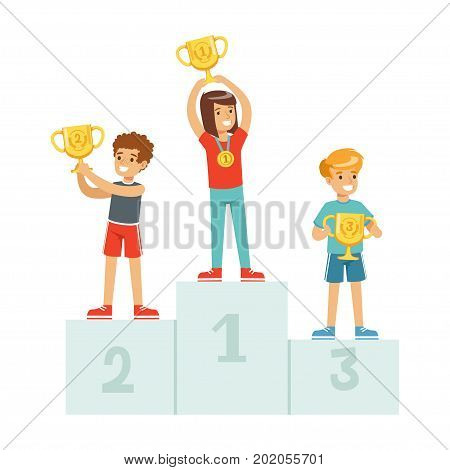 Happy children standing on the winner podium with prize cups and medals, sport athletes kids on pedestal cartoon vector Illustration on a white background