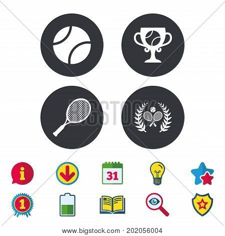 Tennis ball and rackets icons. Winner cup sign. Sport laurel wreath winner award symbol. Calendar, Information and Download signs. Stars, Award and Book icons. Light bulb, Shield and Search. Vector