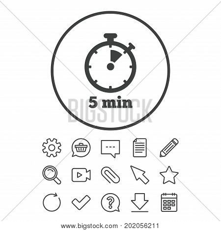 Timer sign icon. 5 minutes stopwatch symbol. Document, Chat and Paper clip line signs. Question, Pencil and Calendar line icons. Star, Download and Shopping cart. Vector