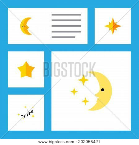 Flat Icon Night Set Of Night, Asterisk, Moon And Other Vector Objects